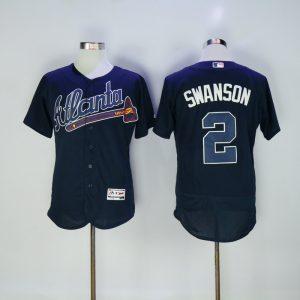 2017 MLB FLEXBASE Atlanta Braves 2 Swanson dark blue jerseys