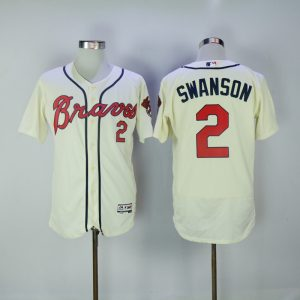 2017 MLB FLEXBASE Atlanta Braves 2 Swanson white jerseys 2