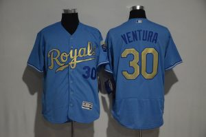 2017 MLB Kansas City Royals 30 Yordano Ventura Blue jerseys