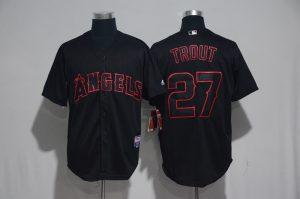 2017 MLB Los Angeles Angels 27 Trout Black Classic Jerseys