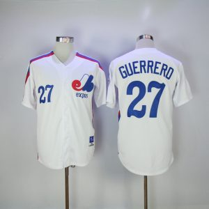 2017 MLB Montreal Expos 27 Guerrero White Throwback Jerseys