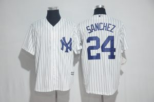 2017 MLB New York Yankees 24 Sanchez White Jerseys