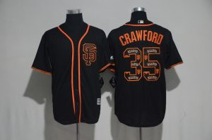 2017 MLB San Francisco Giants 35 Crawford Black Fashion Edition Jerseys