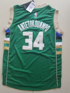 2017 NBA Milwaukee Bucks 34 Giannis Antetokounmpo green kids jerseys