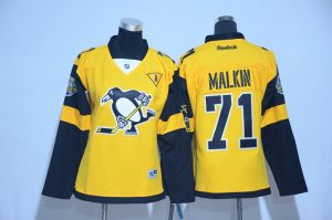 2017 NHL Pittsburgh Penguins 71 Malkin Yellow women Jerseys