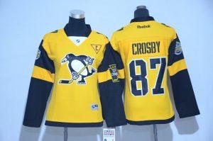 2017 NHL Pittsburgh Penguins 87 Crosby Yellow women Jerseys