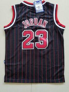 2017 chicago bulls 23 jordan black strip red number kids jersey