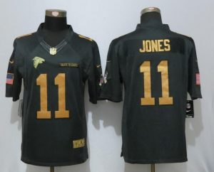 New Nike Atlanta Falcons 11 Jones Gold Anthracite Salute To Service Limited Jersey