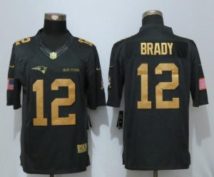 New Nike New England Patriots 12 Brady Gold Anthracite Salute To Service Limited Jersey