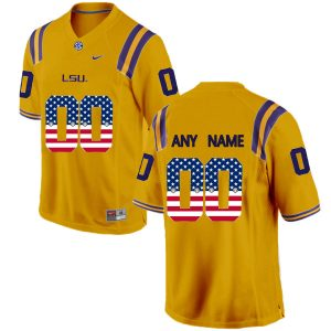 US Flag Fashion Men LSU Tigers Customized College Football Limited Jersey Gold