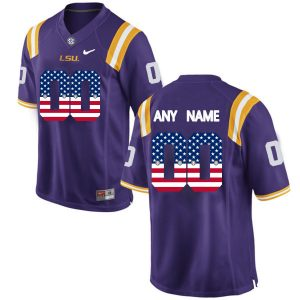 US Flag Fashion Men LSU Tigers Customized College Football Limited Jersey Purple