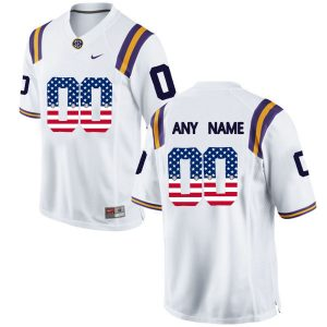 US Flag Fashion Men LSU Tigers Customized College Football Limited Jersey White