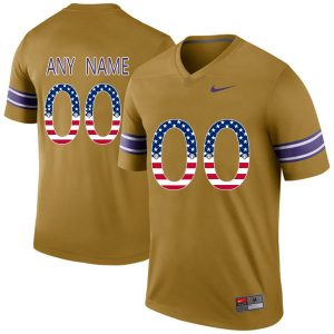 US Flag Fashion Men LSU Tigers Customized College Football Limited Throwback Legand Jersey Gridiron Gold