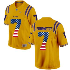 US Flag Fashion Men LSU Tigers Leonard Fournette 7 College Football Limited Jersey Gold