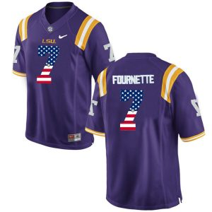 US Flag Fashion Men LSU Tigers Leonard Fournette 7 College Football Limited Jersey Purple