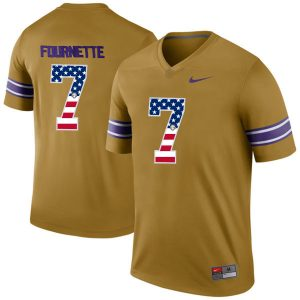 US Flag Fashion Men LSU Tigers Leonard Fournette 7 College Football Limited Legend Jersey Gridiron Gold