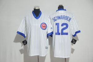 Youth 2017 MLB Chicago Cubs 12 Schwarber White stripe Jerseys