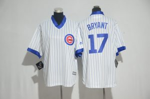 Youth 2017 MLB Chicago Cubs 17 Bryant White stripe Jerseys