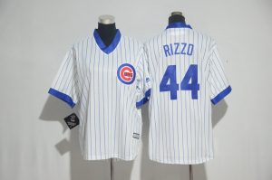 Youth 2017 MLB Chicago Cubs 44 Rizzo White stripe Jerseys