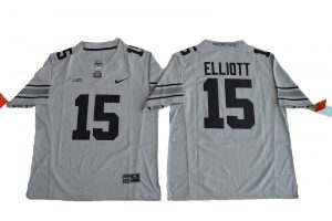 2016 Ohio State Buckeyes 15 Ezekiel Elliott College Football Jersey Gridion Grey II