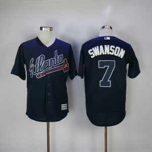 2017 MLB Atlanta Braves 7 Swanson Blue Game Jerseys