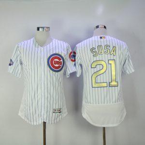 2017 MLB Chicago Cubs 21 Sosa CUBS White Gold Program Throwback Elite Jersey
