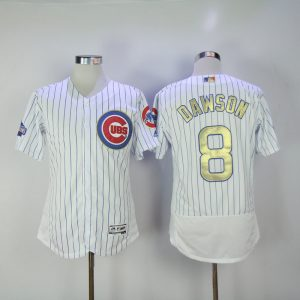 2017 MLB Chicago Cubs 8 Dawson CUBS White Gold Program Throwback Elite Jersey