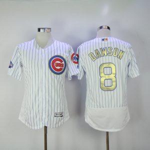 2017 MLB Chicago Cubs 8 Dawson CUBS White Gold Program Throwback Elite Jersey