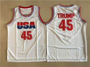 2017 USA 45 Trump White College Basketball Authentic Jersey