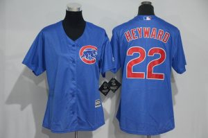 Womens 2017 MLB Chicago Cubs 22 Heyward Blue Jerseys