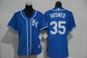 Womens 2017 MLB Kansas City Royals 35 Hosmer Blue Jerseys