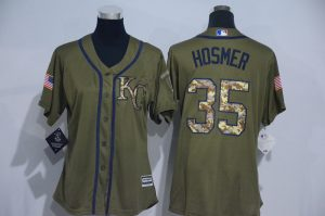Womens 2017 MLB Kansas City Royals 35 Hosmer Green Salute to Service Stitched Baseball Jersey