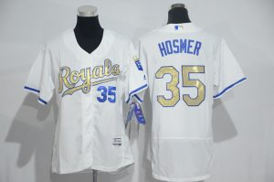 Womens 2017 MLB Kansas City Royals 35 Hosmer White Gold Elite Jerseys