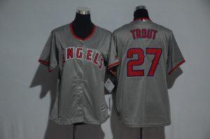 Womens 2017 MLB Los Angeles Angels 27 Trout Grey Jerseys
