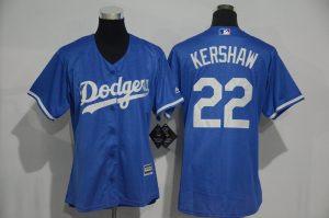 Womens 2017 MLB Los Angeles Dodgers 22 Kershaw Blue Jerseys