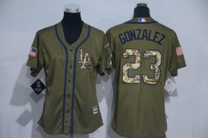 Womens 2017 MLB Los Angeles Dodgers 23 Gonzalez Green Salute to Service Stitched Baseball Jersey