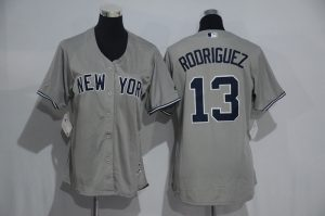 Womens 2017 MLB New York Yankees 13 Rodriguez Grey Jerseys