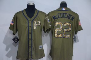 Womens 2017 MLB Pittsburgh Pirates 22 Mccutchen Green Salute to Service Stitched Baseball Jersey
