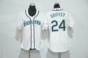 Womens 2017 MLB Seattle Mariners 24 Griffey White Jerseys