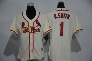 Womens 2017 MLB St. Louis Cardinals 1 O.Smith Gream Jerseys