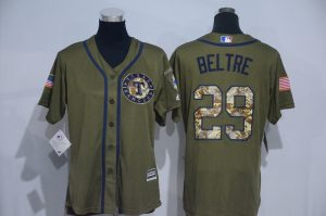 Womens 2017 MLB Texas Rangers 29 Beltre Green Salute to Service Stitched Baseball Jersey