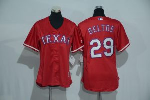 Womens 2017 MLB Texas Rangers 29 Beltre Red Jerseys