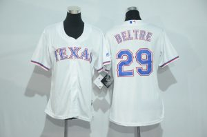 Womens 2017 MLB Texas Rangers 29 Beltre White Jerseys