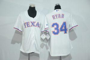 Womens 2017 MLB Texas Rangers 34 Ryan White Jerseys