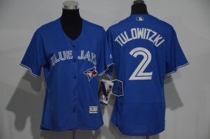 Womens 2017 MLB Toronto Blue Jays 2 Tulowitzki Blue Elite Jerseys