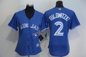 Womens 2017 MLB Toronto Blue Jays 2 Tulowitzki Blue Jerseys