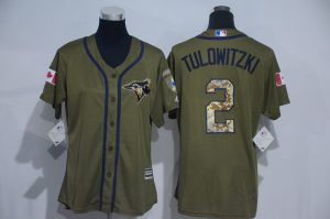 Womens 2017 MLB Toronto Blue Jays 2 Tulowitzki Green Salute to Service Stitched Baseball Jersey