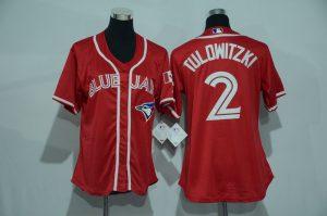 Womens 2017 MLB Toronto Blue Jays 2 Tulowitzki Red Jerseys