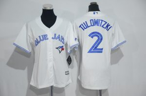 Womens 2017 MLB Toronto Blue Jays 2 Tulowitzki White Jerseys