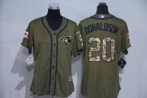 Womens 2017 MLB Toronto Blue Jays 20 Donaldson Green Salute to Service Stitched Baseball Jersey